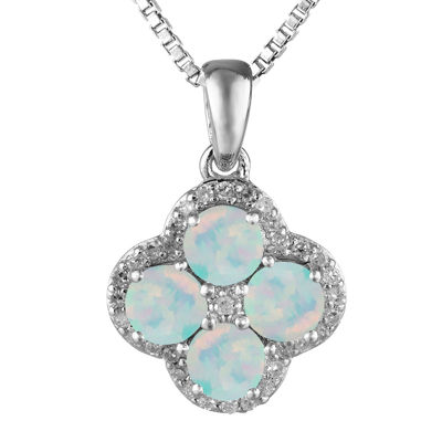 Lab-Created Opal and White Topaz Flower Sterling Silver Pendant Necklace