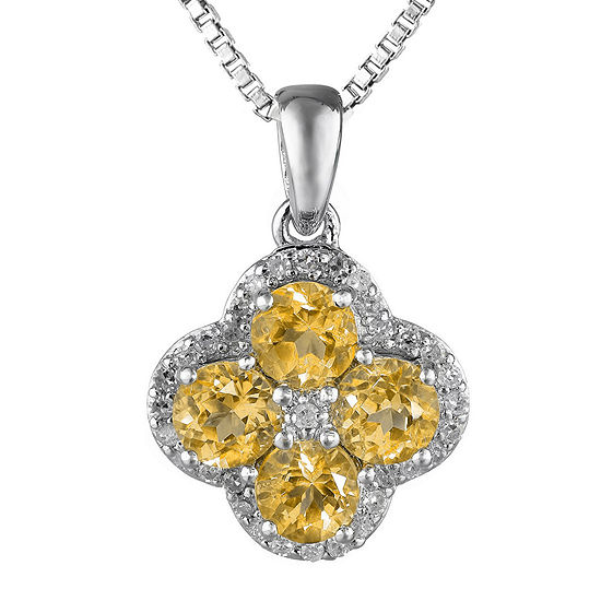 Genuine Citrine and White Topaz Flower Sterling Silver Pendant Necklace