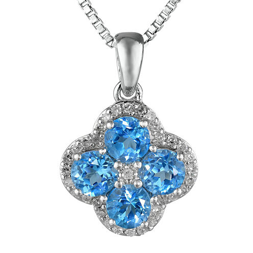 Genuine Blue and White Topaz Flower Sterling Silver Pendant Necklace