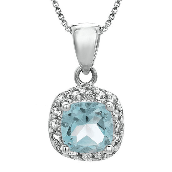 Cushion-Cut Simulated Aquamarine and Genuine White Topaz Sterling Silver Pendant Necklace