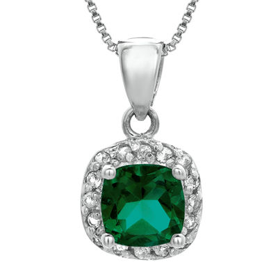 Cushion-Cut Lab-Created Emerald and Genuine White Topaz Sterling Silver Pendant Necklace