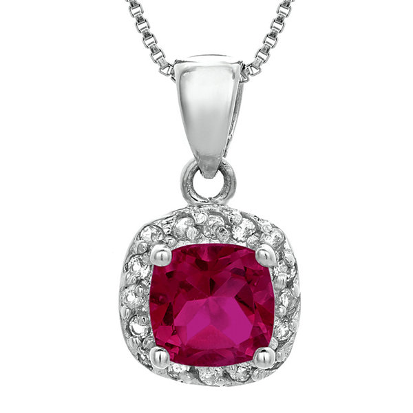 Cushion-Cut Lab-Created Ruby and Genuine White Topaz Sterling Silver Pendant Necklace
