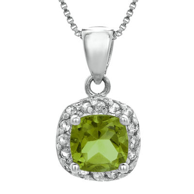Cushion-Cut Genuine Peridot and White Topaz Sterling Silver Pendant Necklace