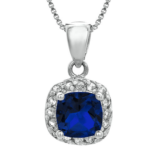 Cushion-Cut Lab-Created Sapphire and Genuine White Topaz Sterling Silver Pendant Necklace