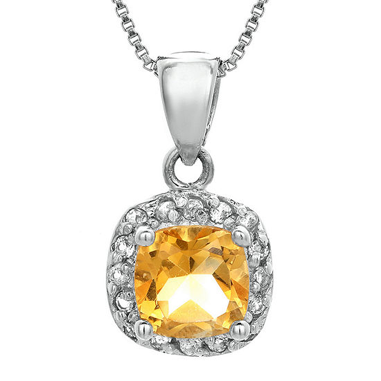 Cushion Cut Genuine Citrine And White Topaz Sterling Silver Pendant Necklace