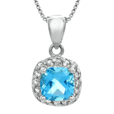 Cushion-Cut Genuine Blue and White Topaz Sterling Silver Pendant Necklace