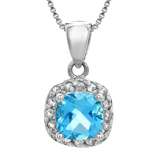 Cushion Cut Genuine Blue And White Topaz Sterling Silver Pendant Necklace