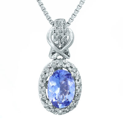 1/7 CT. T.W. Diamond and Genuine Tanzanite 10K White Gold Drop Pendant Necklace