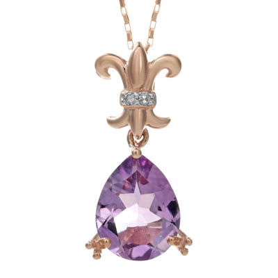 Genuine Amethyst and Diamond-Accent 10K Rose Gold Filigree Drop Pendant Necklace