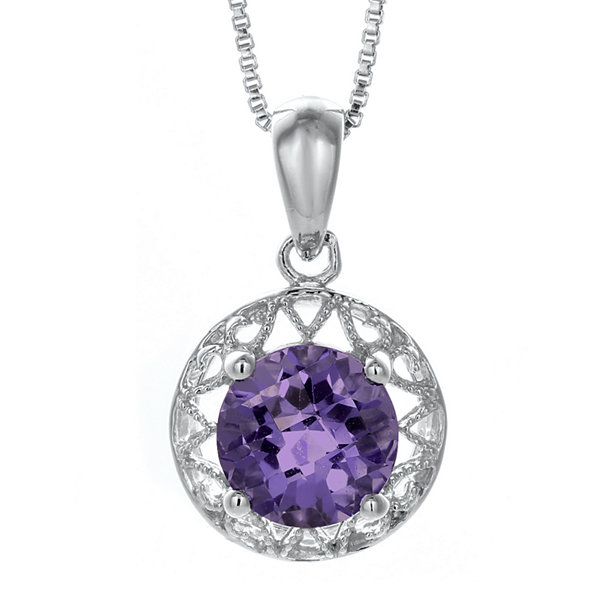 Genuine Amethyst Filigree Sterling Silver Pendant Necklace