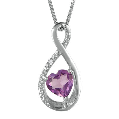 Fine Jewelry Genuine Amethyst and Diamond-Accent Heart and Infinity Pendant Necklace MbmgfZA
