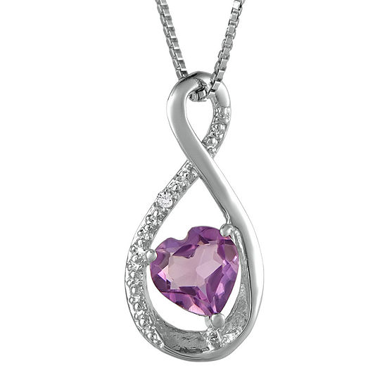 561fc49617b34 Genuine Amethyst and Diamond-Accent Heart and Infinity Pendant Necklace