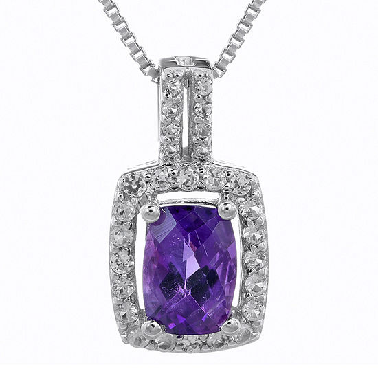 Cushion-Cut Genuine Amethyst and White Sapphire Pendant Necklace