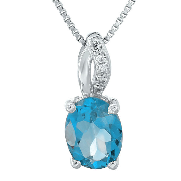 Genuine Topaz and Diamond-Accent Sterling Silver Pendant Necklace