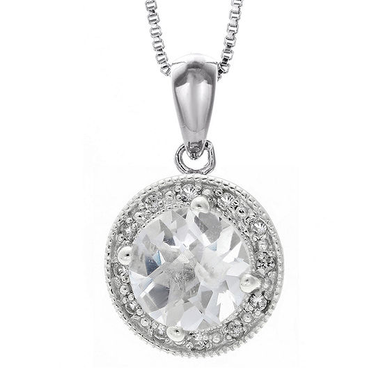 Genuine White Topaz And Lab Created White Sapphire Round Sterling Silver Pendant Necklace
