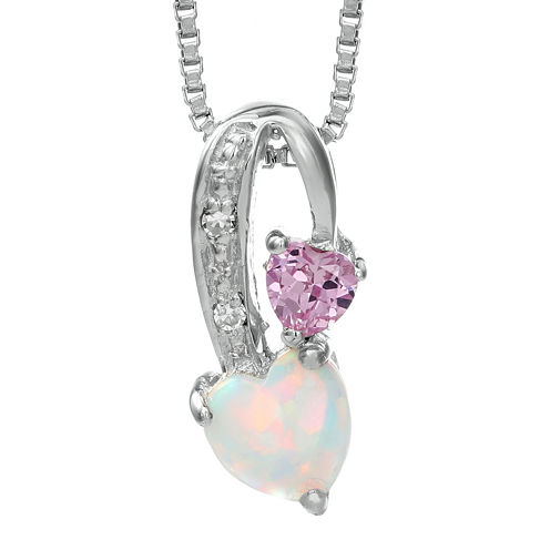 Lab-Created Opal and Pink Sapphire Sterling Silver Double-Heart Pendant Necklace