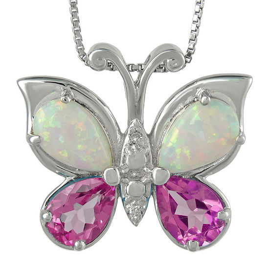 Lab-Created Pink Sapphire and Opal Butterfly Pendant Necklace