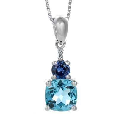 Genuine Blue Topaz and Lab-Created Blue Sapphire Drop Pendant Necklace