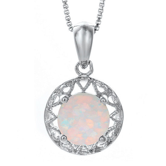 Lab-Created Opal Filigree Sterling Silver Pendant Necklace