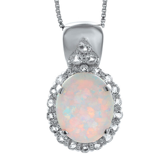 Lab-Created Opal and Genuine White Topaz Sterling Silver Pendant Necklace