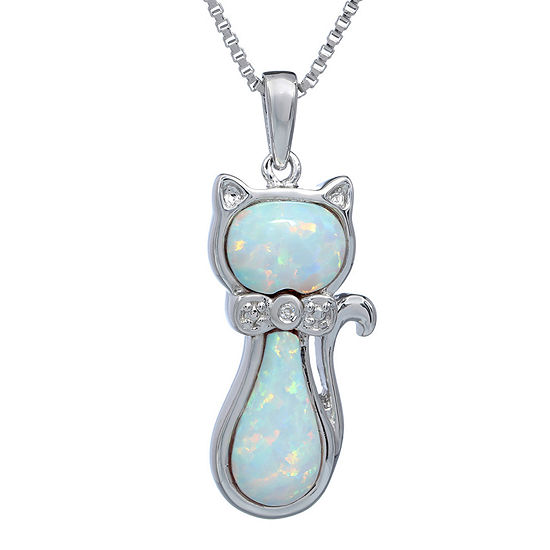 Lab-Created Opal and Diamond-Accent Sterling Silver Cat Pendant Necklace