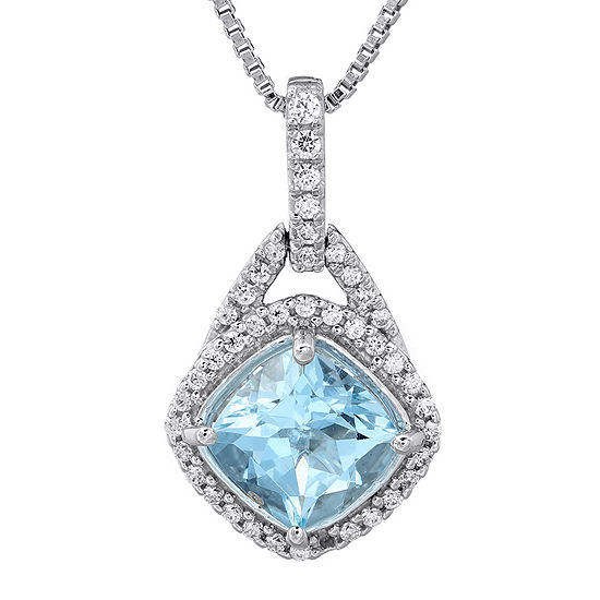 1/5 CT. T.W. Diamond and Genuine Aquamarine 10K White Gold Hoop Drop Pendant Necklace