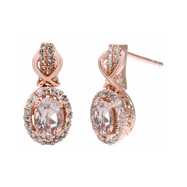 1/4 CT. T.W. Diamond and Genuine Morganite 10K Rose Gold Drop Earrings