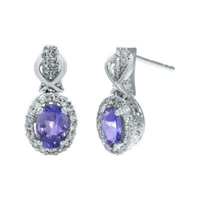 1/4 CT. T.W. Diamond and Genuine Tanzanite 10K White Gold Drop Earrings
