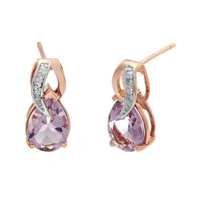 Genuine Amethyst and Diamond-Accent 10K Rose Gold Drop Earrings
