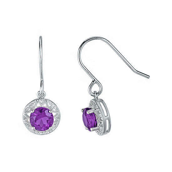 Genuine Amethyst Filigree Sterling Silver Drop Earrings
