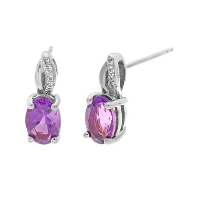 1/10 CT. T.W. Diamond and Genuine Amethyst Sterling Silver Drop Earrings