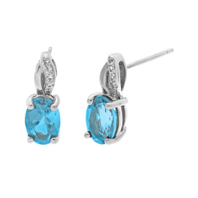 1/10 CT. T.W. Diamond and Genuine Topaz Sterling Silver Drop Earrings