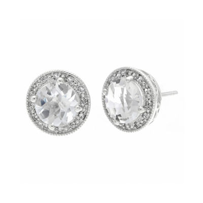 Genuine White Topaz and Lab-Created White Sapphire Round Sterling Silver Stud Earrings