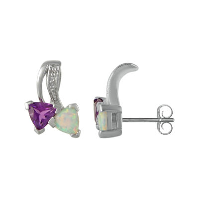 Lab-Created Opal and Genuine Amethyst Sterling Silver Earrings