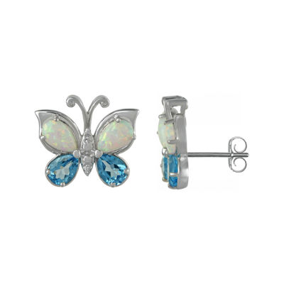 Genuine Blue Topaz and Lab-Created Opal Butterfly Earrings