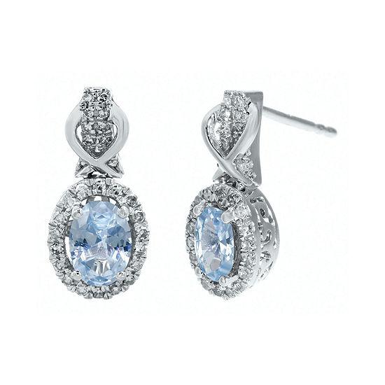 1 4 Ct Tw Diamond And Genuine Aquamarine 10k White Gold Drop Earrings