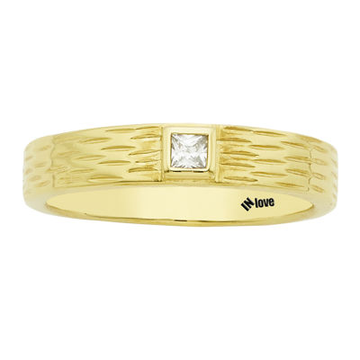 IN Love 1/10 CT. T.W. Diamond 14K Yellow Gold Princess-Cut Textured Wedding Band