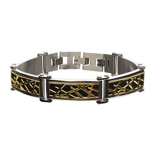 Mens Tri-Tone Stainless Steel Crown of Thorns Bracelet