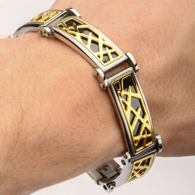Mens Tri-Tone Stainless Steel Crown of Thorns Bracelet