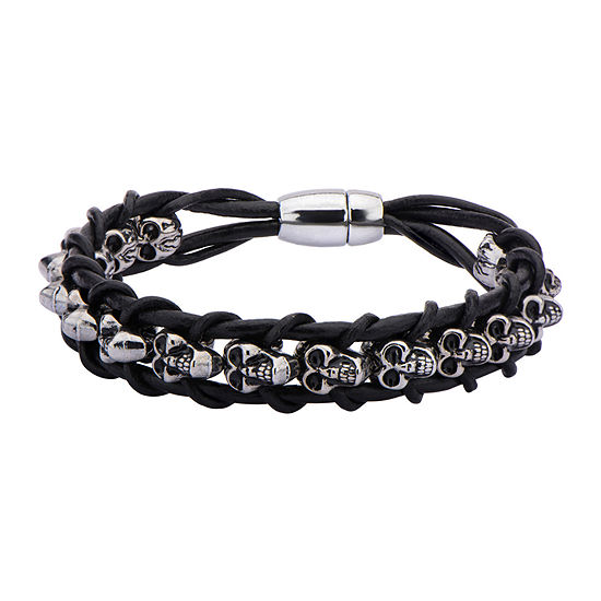 Mens Stainless Steel Skull and Braided Black Leather Bracelet
