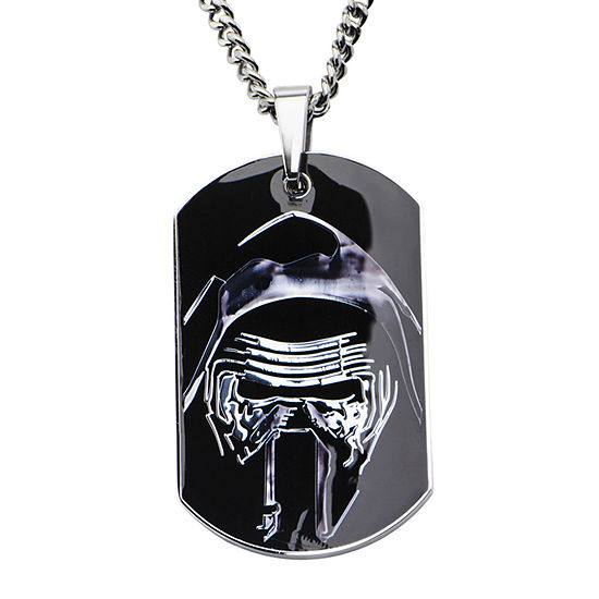 Star Wars® Episode VII Kylo Ren Mens Stainless Steel Dog Tag Pendant Necklace