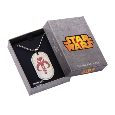 Star Wars® Mandalorian Symbol Mens Stainless Steel Dog Tag Pendant Necklace