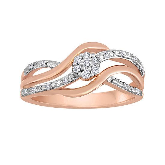 diamond blossom 1/10 CT. T.W. Diamond Bypass Ring