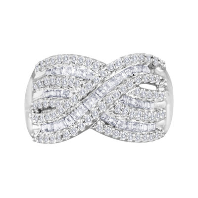 3/4 CT. T.W. Diamond Sterling Silver Crossover Ring