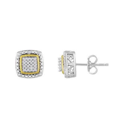 1/10 CT. T.W. Diamond Two-Tone Frame Earrings