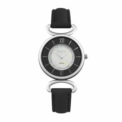 Geneva Womens Black Strap Watch-Pt1998slbk