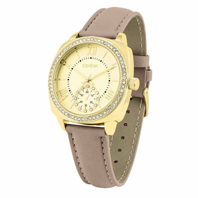 Geneva Womens Brown Strap Watch-Pt2517gdtn