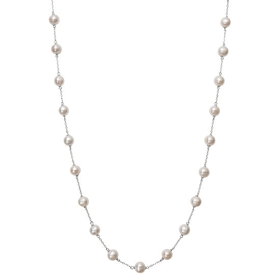Womens Cultured Freshwater Pearl 10K White Gold Strand Necklace