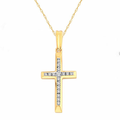 Womens 1/10 CT. T.W. White Diamond 10K Gold Cross Pendant Necklace