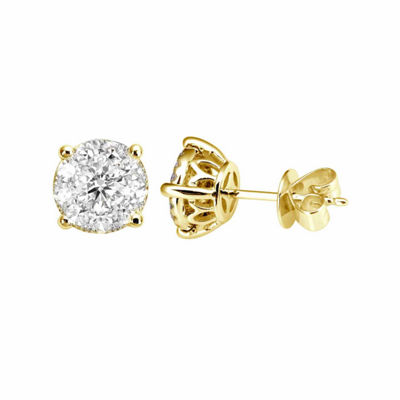 3/4 CT. T.W. Genuine White Diamond 14K Gold Stud Earrings